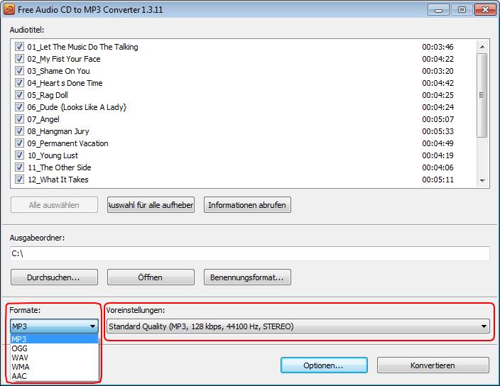 Audio CD Daten in MP3 konvertieren