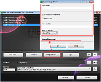 Free 3GP Video Converter: click Output Name... to form the pattern of the output file name