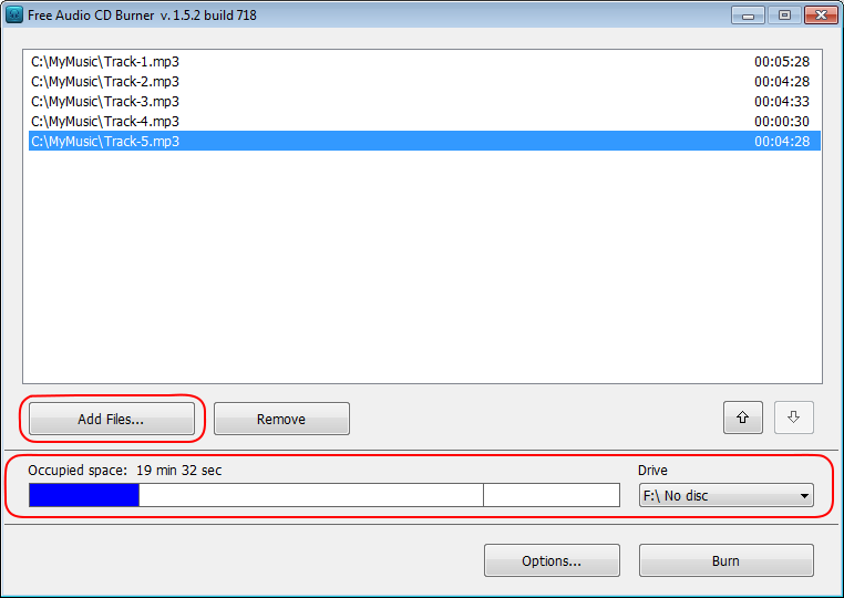Free Audio CD Burner: seleziona file audio di input