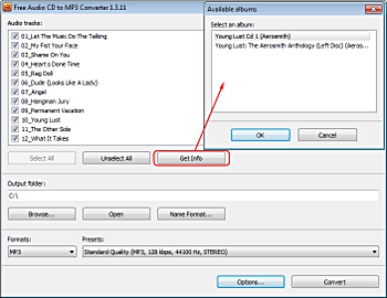 Free Audio CD To MP3 Converter: insert an Audio CD
