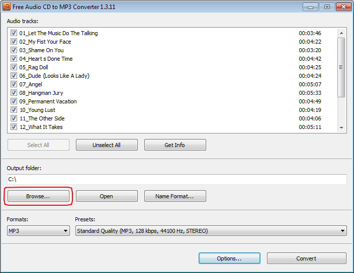 Free Audio CD To MP3 Converter: select output location