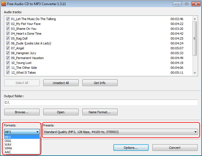 Free Audio CD To MP3 Converter: select output profile