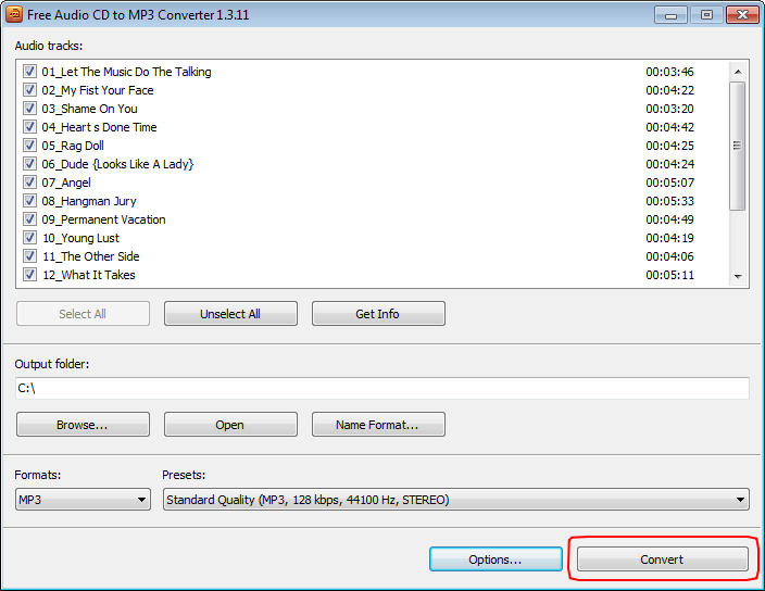 Free Audio CD To MP3 Converter: convert Audio CD