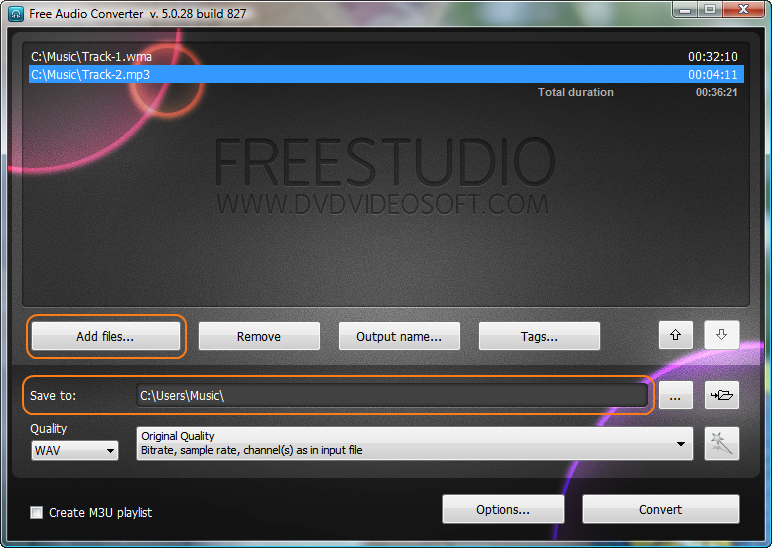 Free Audio Converter: choose input audio file(s) and output folder