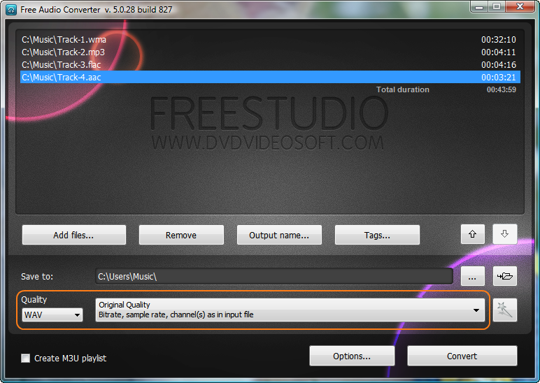 Free Audio Converter: choose output format profile