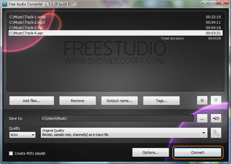 Free Audio Converter: press 'Convert' button and wait for a few seconds