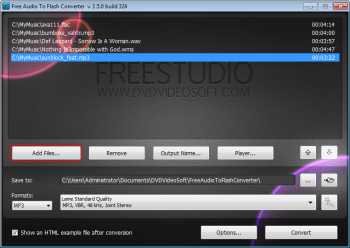 Free Audio to Flash Converter: select input file