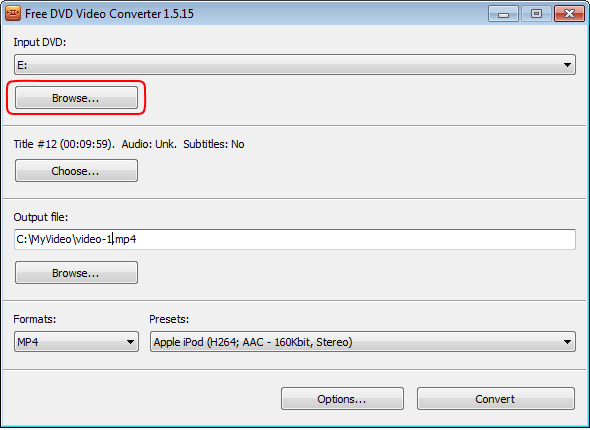 Free DVD Video Converter: select input path