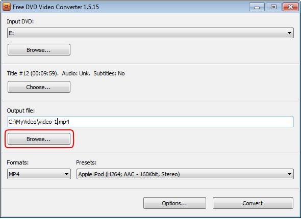 Free DVD Video Converter: select output location
