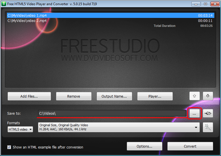 Free HTML5 Video Player and Converter: click Browse to select output location