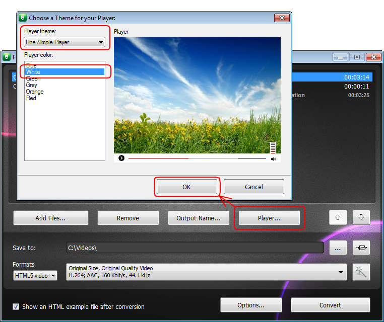 Free HTML5 Video Player and Converter: selecciona un reproductor