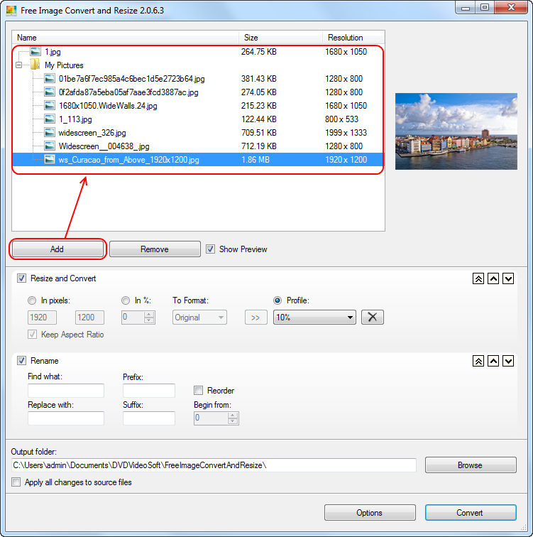 Free Image Convert and Resize: select input files