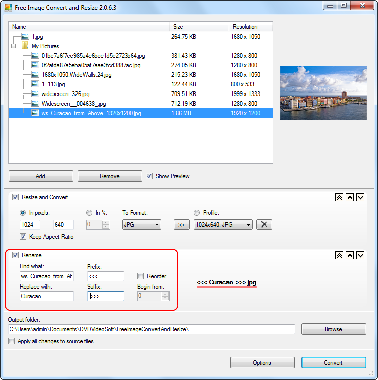 Free Image Convert and Resize: set the output file name