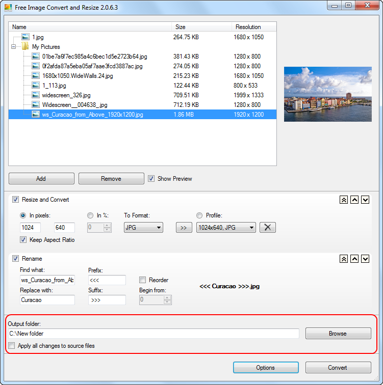 Free Image Convert and Resize: select output folder