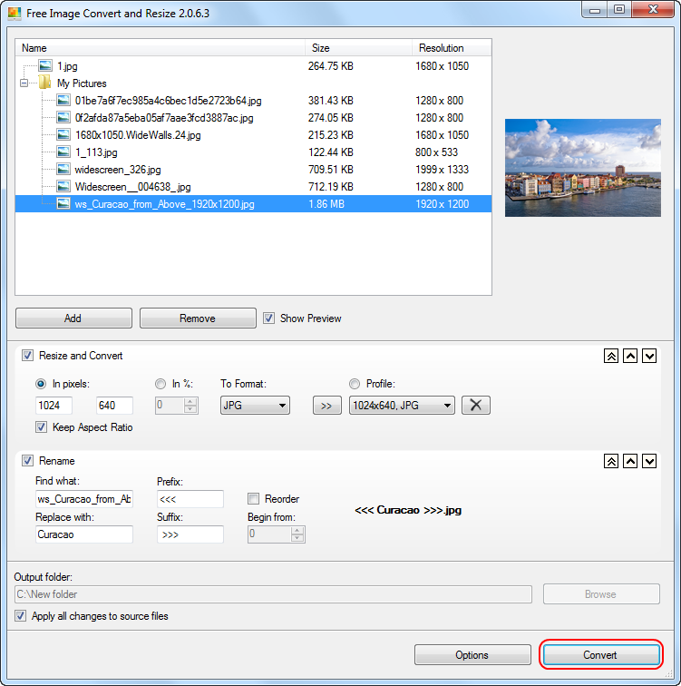 Free Image Convert and Resize: set the output image dimensions and file format