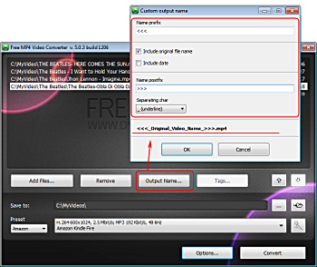 Free MP4 Video Converter: set output file name