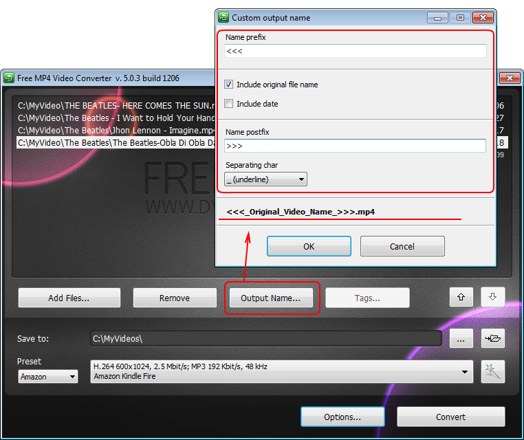 Free MP4 Video Converter: imposta il nome di file di output