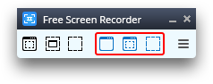 Free Screen Video Recorder: seleziona un'opzione per catturare video
