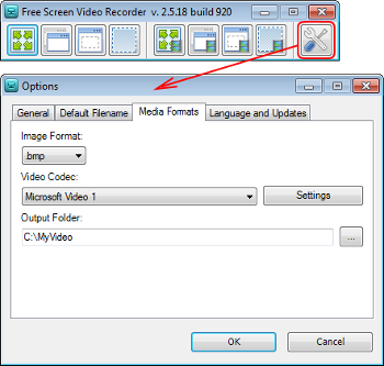 Free Screen Video Recorder: configurar opciones