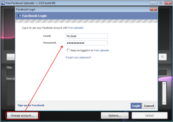 Free Uploader for Facebook: login to Facebook