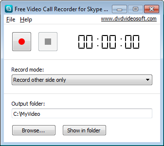 Free Video Call Recorder for Skype: launch the program