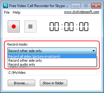 Free Video Call Recorder for Skype: Modus auswählen