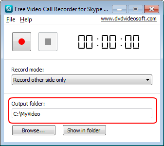 Free Video Call Recorder for Skype: select output folder