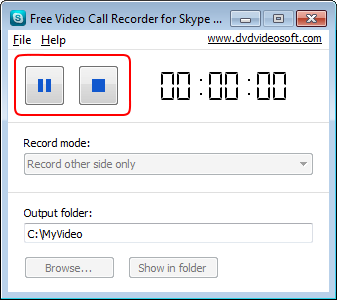 Free Video Call Recorder for Skype: Anruf anhalten