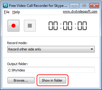 Free Video Call Recorder for Skype: find output files