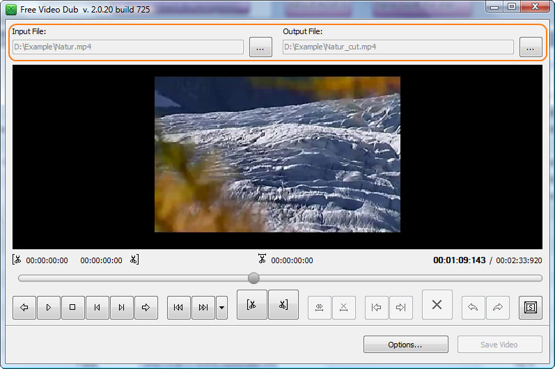 Select the video file and start editing
