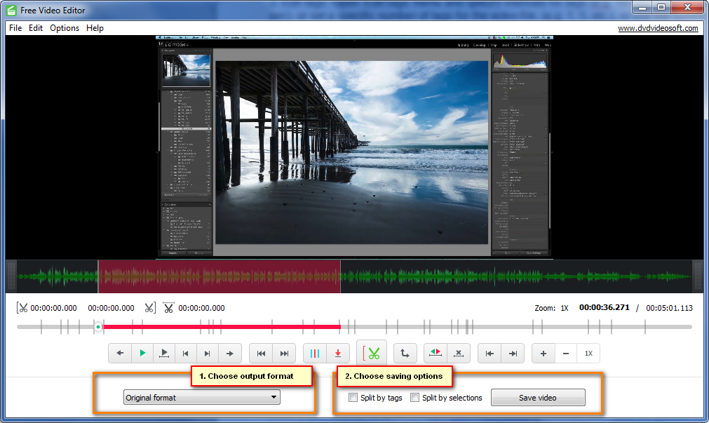 Choose output options and save video