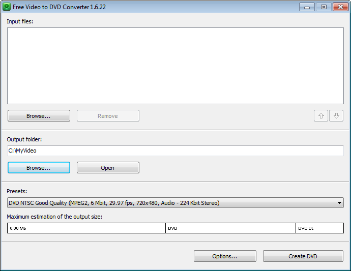 Free Video to DVD Converter: avvia il programma