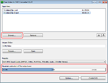 Free Video to DVD Converter: select input video files