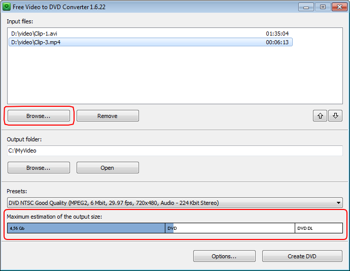 Free Video to DVD Converter: seleziona i file video di input