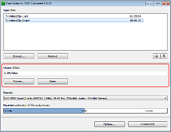 Free Video to DVD Converter: select output location