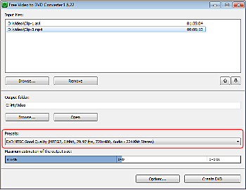 Free Video to DVD Converter: select output presets