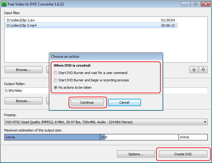Free Video to DVD Converter: converti video in DVD