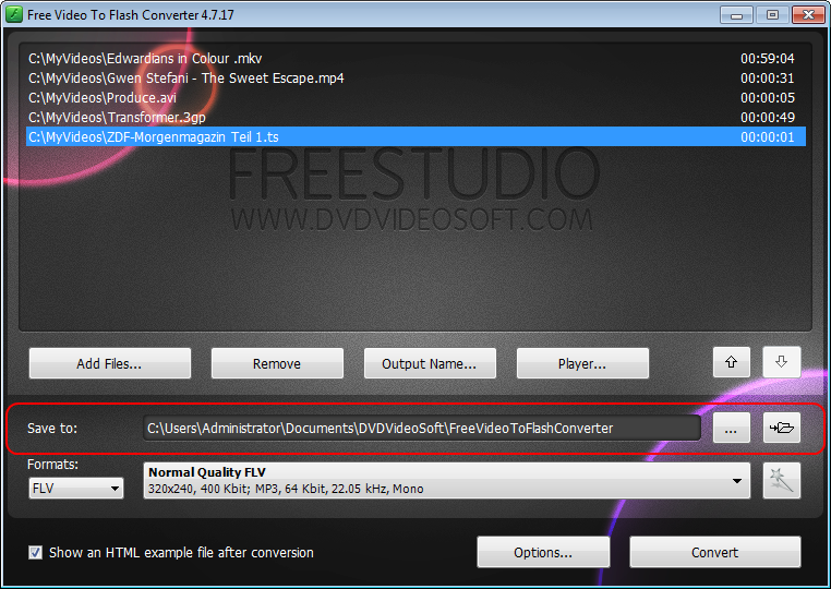 Free Video to Flash Converter: click Browse to select output location