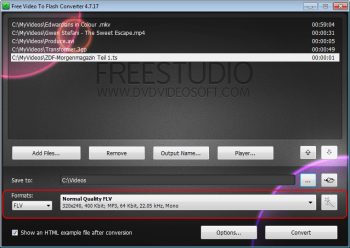 Free Video to Flash Converter: seleccionar formato de saída