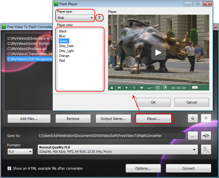 Free Video to Flash Converter: select player
