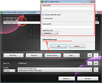 Free Video to MP3 Converter: set output file name
