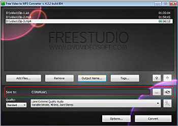 Free Video to MP3 Converter: select output location