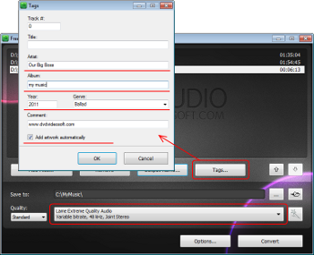 Free Video to MP3 Converter: set tags