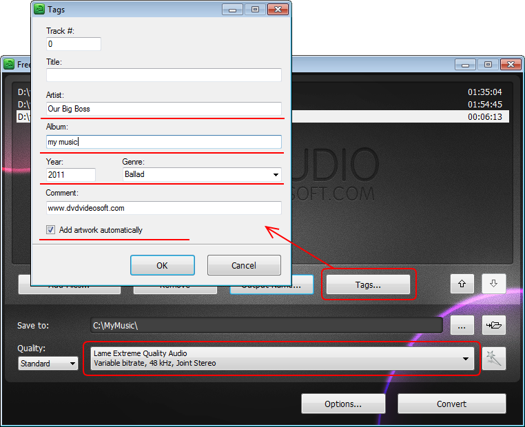 Free Video to MP3 Converter: Tags einstellen