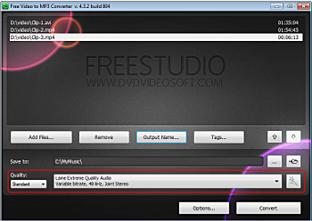 Free Video to MP3 Converter: select presets