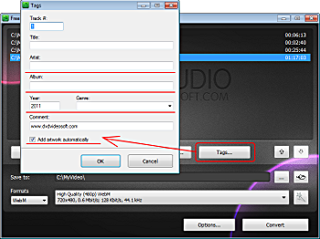 Free WebM Video Converter: set MP3 tags