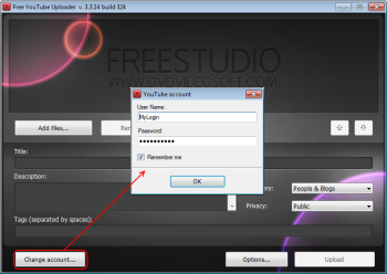 Free YouTube Uploader:  iniciar a sessão de YouTube