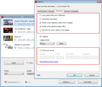 Free YouTube Download: setting options