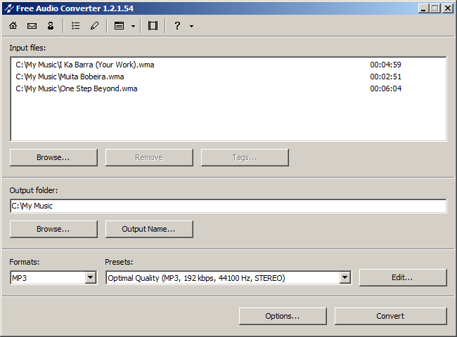Screenshot vom Programm: Free Audio Converter
