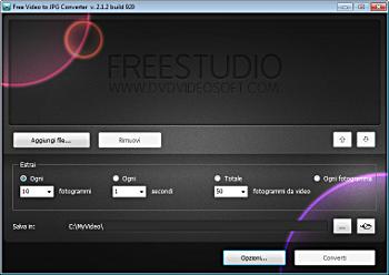 Free Video to JPG Converter: avvia il programma